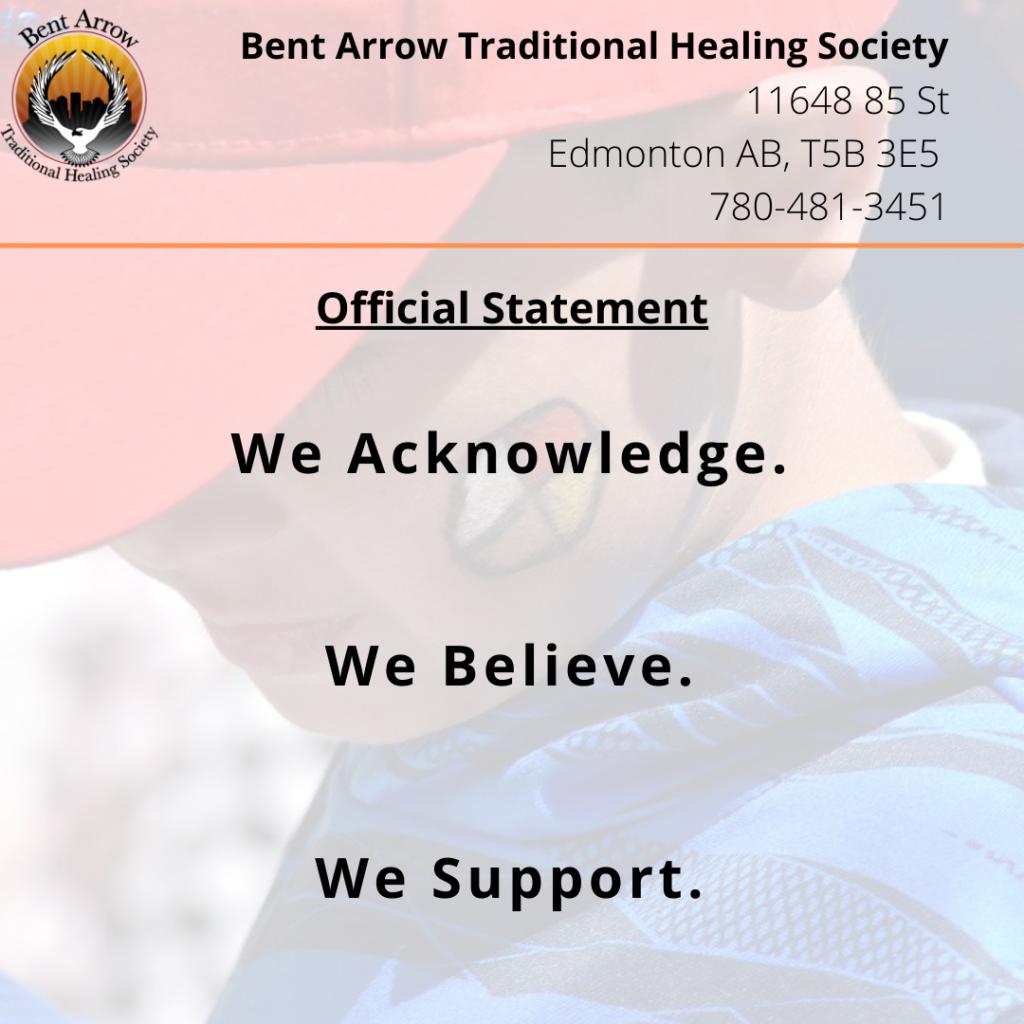 Bent Arrow official statement on Kamloops Residential School